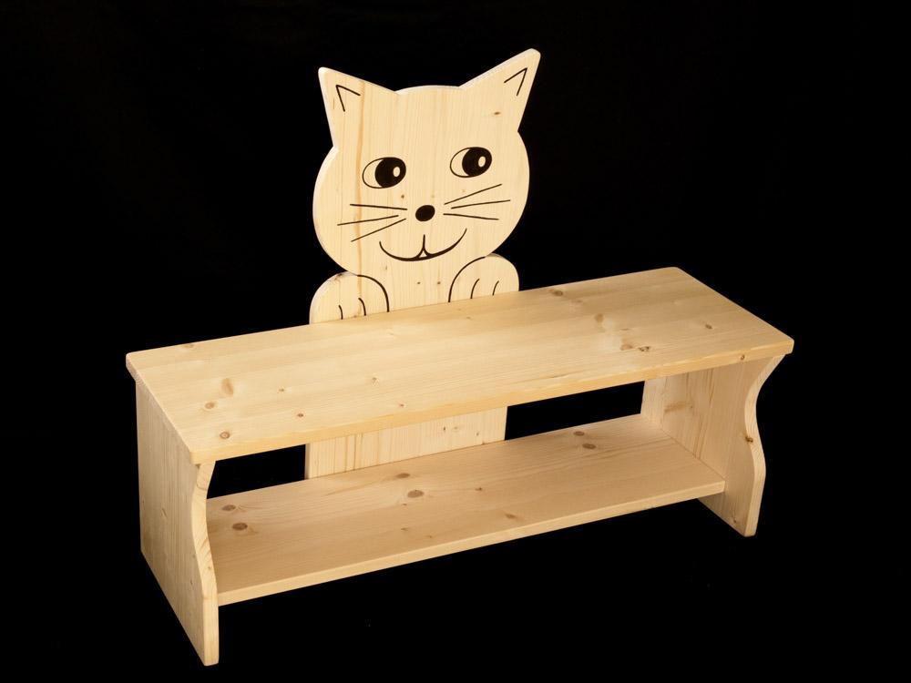 kinderbank katze aus holz kanaholz. Black Bedroom Furniture Sets. Home Design Ideas