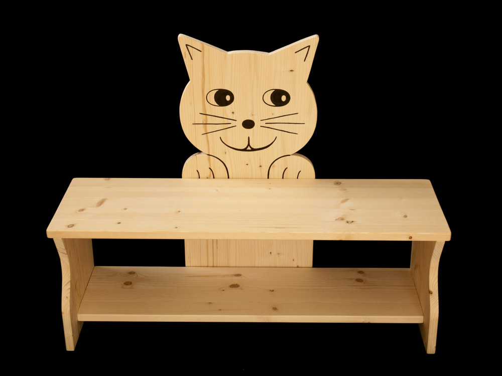 kinderbank katze aus holz kanaholz. Black Bedroom Furniture Sets. Home Design Ideas